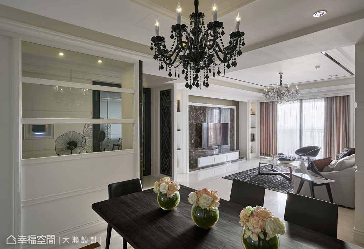 大瀚設計構置一盞璀璨吊燈,為餐廳場域劃下美的註解。
