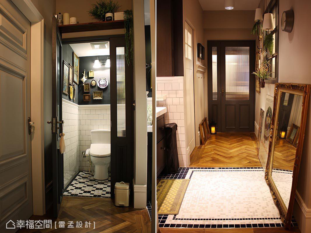 拉大1.5倍的空間使用量,將洗手檯面、廁所與洗沐功能分區規劃,並考量入濕區保養問題局部採用馬賽克磚拼貼,增添生活應用彈性。