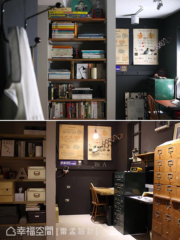 因呂宗益設計師夫婦有在家工作的需求,將原廚房的空間規劃為可供兩人使用的工作室。而大量書籍與建材的存放,則利用牆面間的畸零處安排入木作層架妥善運用。