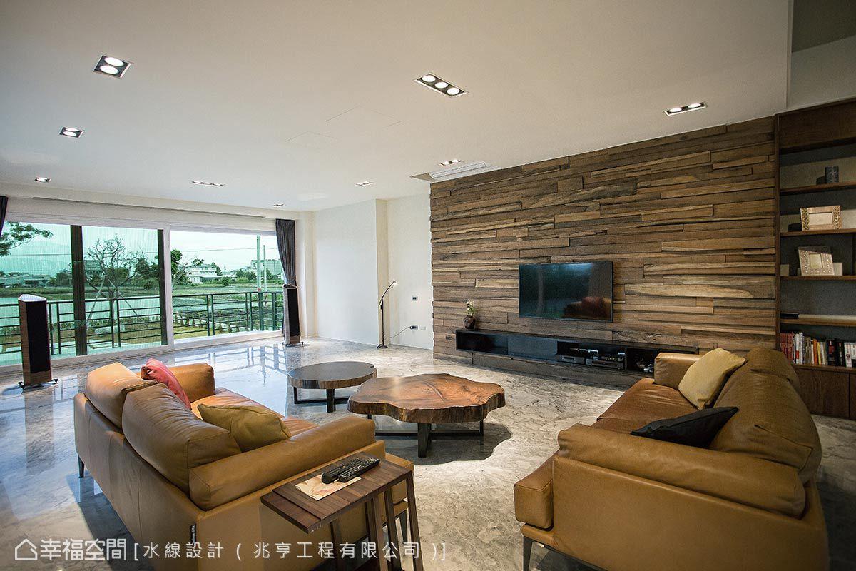簡約的空間裡無多餘矯飾線條,僅透過大理石與實木肌理的舒放鋪襯自然寫意的空間意象。
