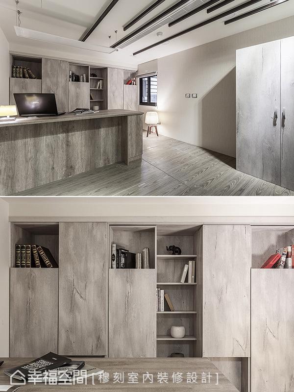 有別於公領域的深沉用色,吳宗儒設計師運用兩種色階的『尼肯白橡』木紋系統板,表現書房空間的靜謐層次。有別於公領域的深沉用色,吳宗儒設計師運用兩種色階的『尼肯白橡』木紋系統板,表現書房空間的靜謐層次。