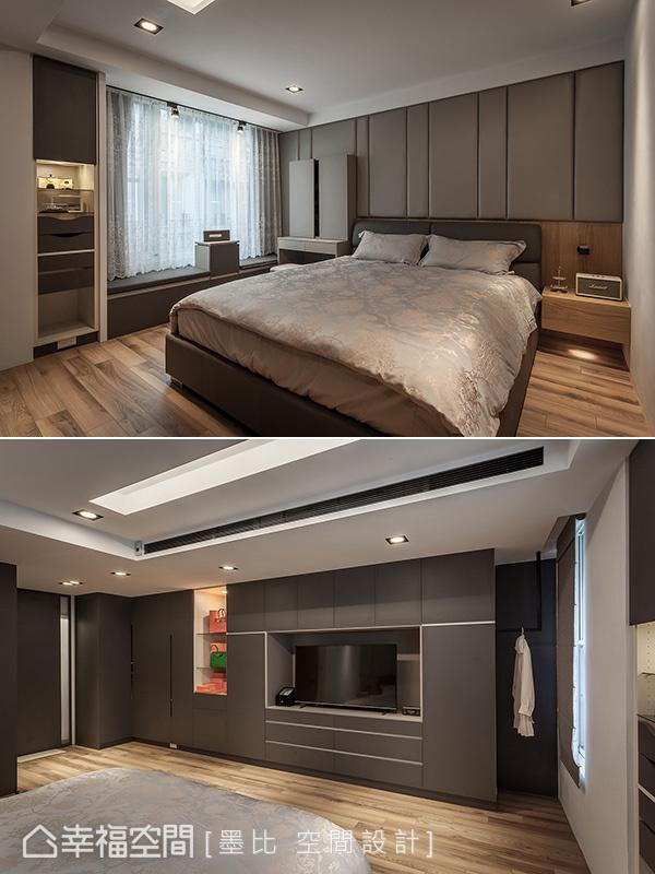 溫潤人文氛圍的主臥房中,預先了解屋主的衣物配件數量與種類,依序分門別類安排入簡潔齊整的衣櫃線條內。