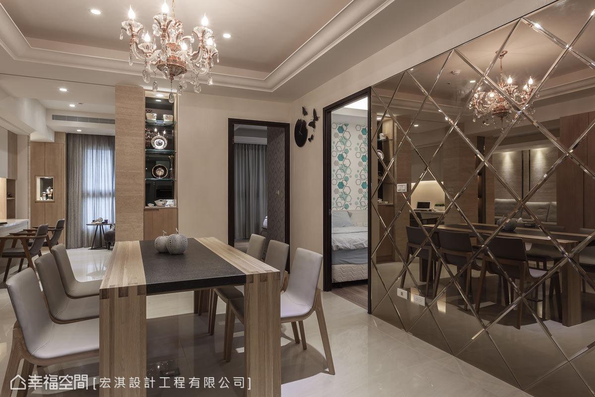 帶有現代新古典語彙的餐廳,藉由華美的水晶燈飾及菱格紋茶鏡主牆完美呈現。