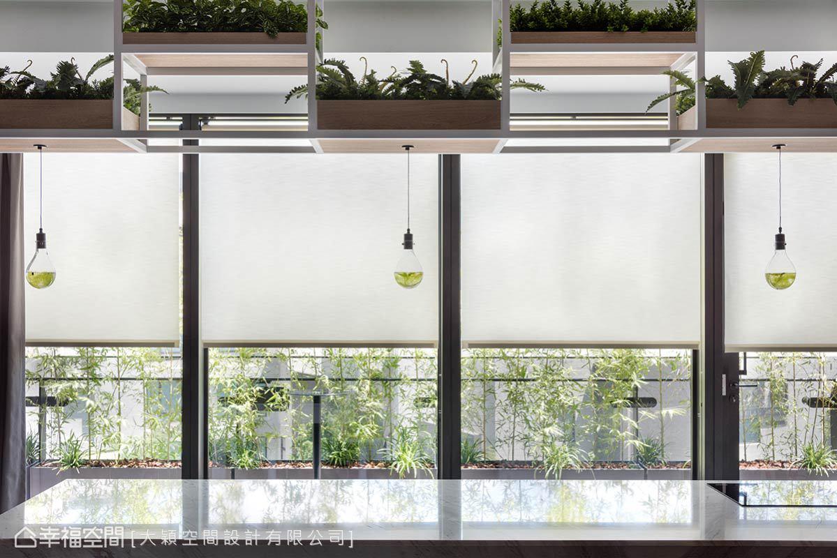 大尺度的吧檯長桌,同時兼具茶水間的功能,敞朗明亮的開窗,可以窺視窗外的綠意植栽。