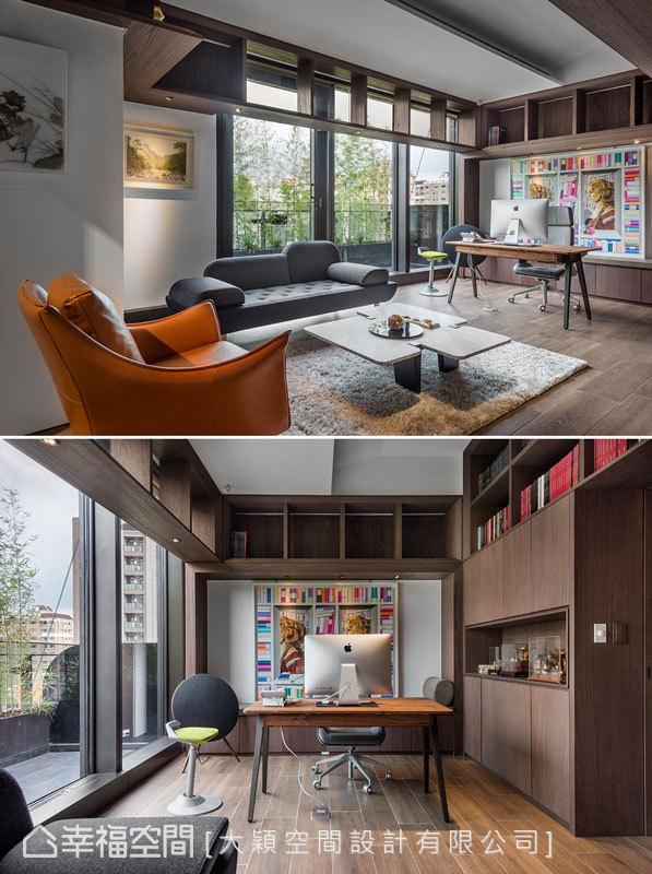 充分利用空間樓高,規劃ㄇ字展示櫃圍繞空間內部,並以色調豐富的印刷作品裝點空間。