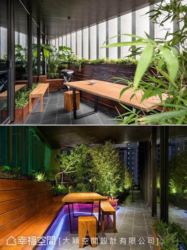 3米4的露臺空間,以大片植栽綠意圍繞其中,晚上則透過LED情境燈光,營造繽紛絢麗的視覺意象。