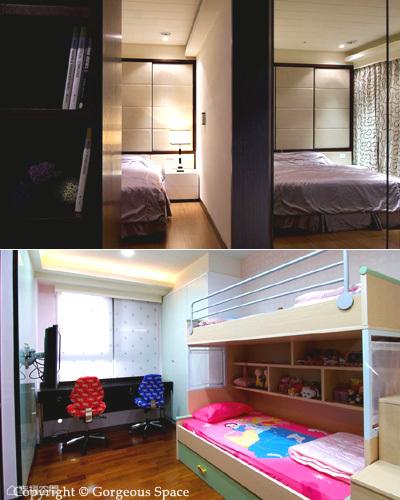 (左圖)主臥另規劃一書房閱讀區,以鏡面放大空間感,書櫃的背板即為睡眠區的電視主牆,床鋪後方則因應大樑做出大面收納,兼具美感與機能。(右圖)小孩房以符合年齡的活潑元素佈置,呈現熱鬧歡樂的氛圍。