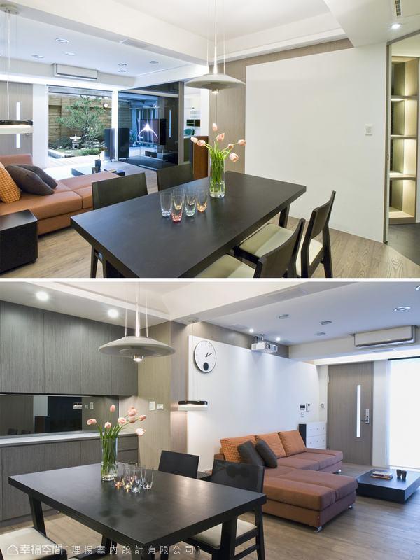 餐廳主牆面的規劃手法與沙發後方牆面的形成語彙,使用相同手法安排,作為公共空間前後呼應的元素。全區以白色作基調,以材質的色系做深淺、層次上的劃分。