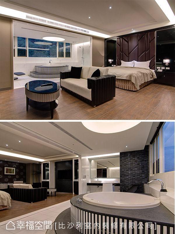 帶有紐約風的黑白色調,搭以床頭垂直性的斜面切割造型,營造時尚的泡湯質感。