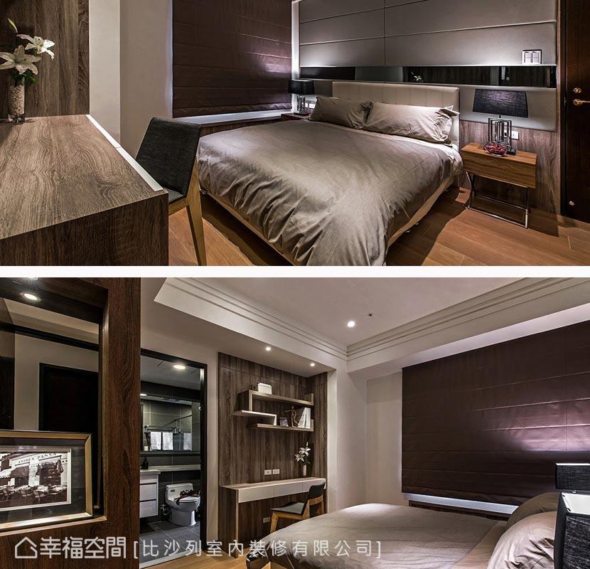 繃布與鏡面共組的床頭段落,採以灰階色度為主要調性,低歛演繹現代氣息。