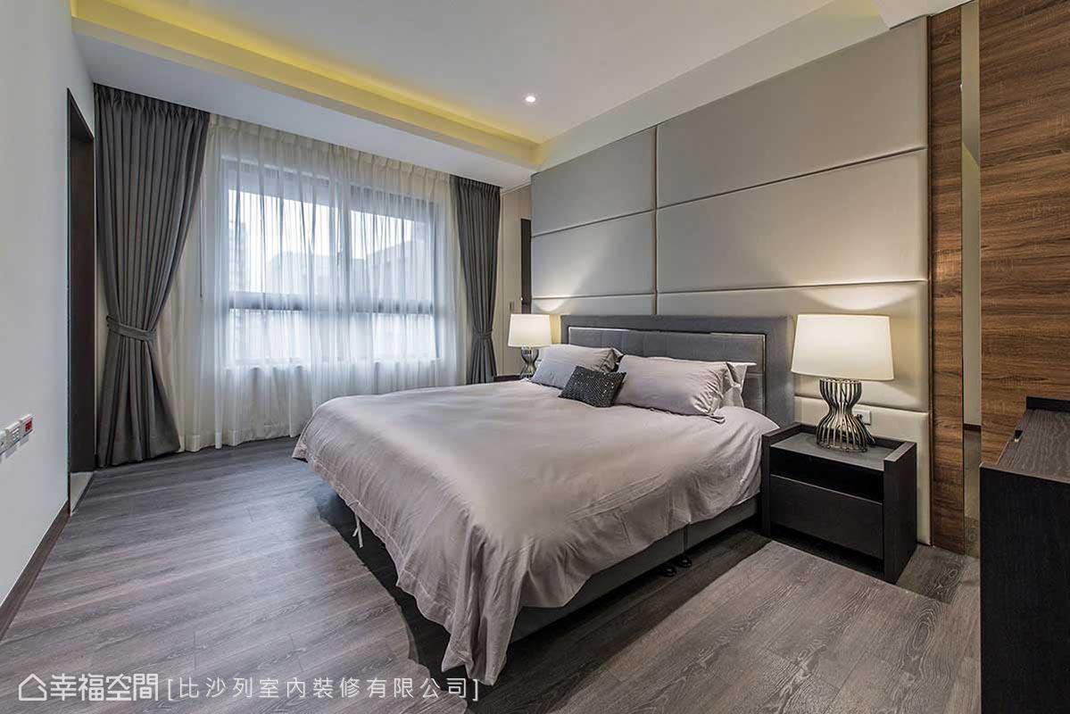 落地式床頭設計,將主景化為大方幾何,輕淺用色表述另一種生活情懷。