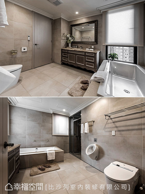 寬敞的衛浴空間,除基本機能配置外,更貼心規劃讓男女各自使用的設備;而與浴缸對向的窗戶規劃,讓泡澡時也能盡享窗外景致。