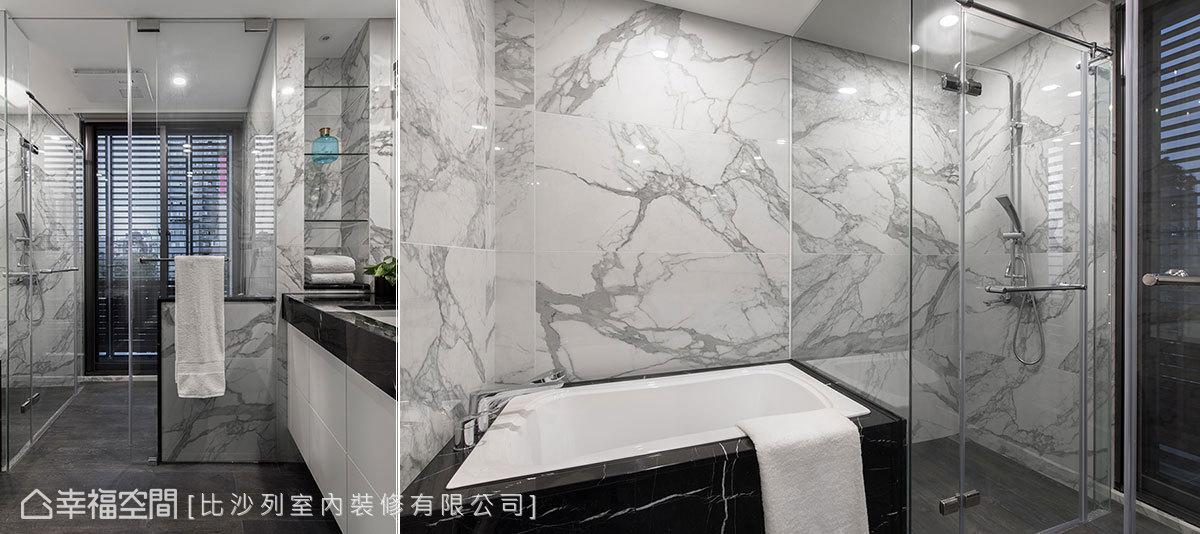 以矮牆遮掩馬桶位置,並利用玻璃隔間劃分淋浴區,讓主臥衛浴機能明確又不影響採光。