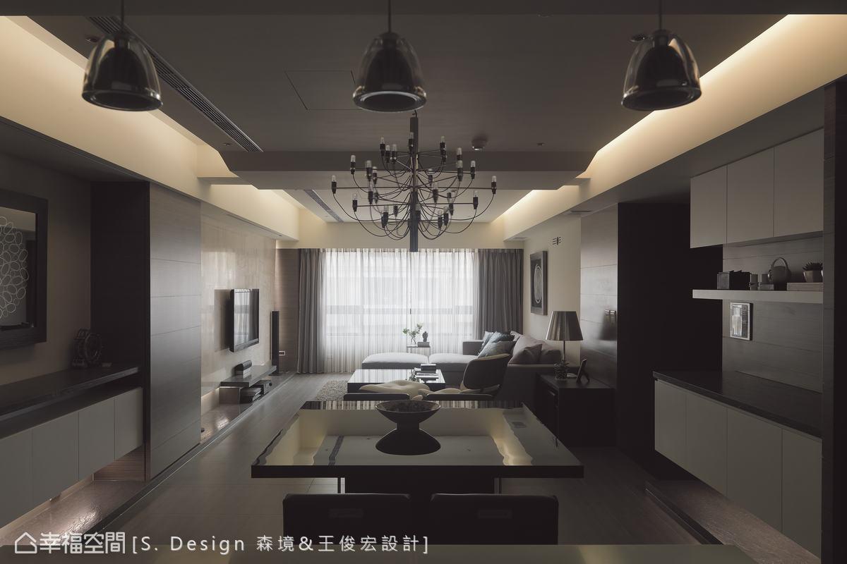藉由人工燈具的鋪排與自然日光的恣意,簡約中亦可見嚴謹的點、線、面空間架構。