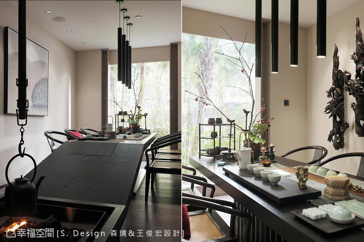 依傍自然綠景規劃一方品茗茶室,向下斜切的造型線條增添設計趣味。
