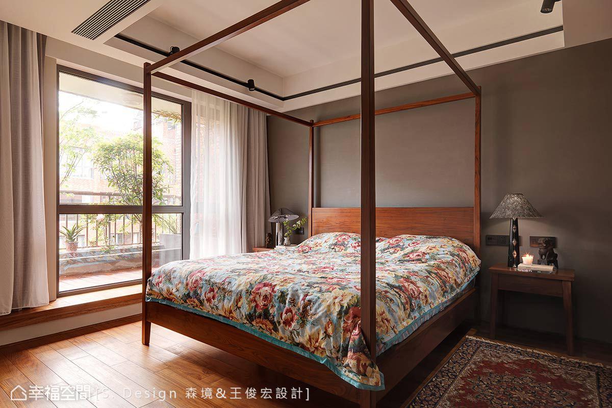 簡化線條的架子床與中式風格塊毯,以經典中式元素敘寫絕塵拔俗的東方風情。