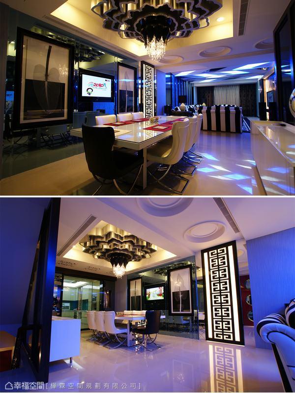 連貫整體空間主題的中式圖騰遊走於地毯邊框,最後以空間區隔燈箱表情出現,讓客廳與餐廳明顯不同的空間氛圍不顯突兀。有別於玄關綻放的花朵意象,設計師在餐廳天花以含苞待放的內斂感聚攏溫馨的用餐氛圍。