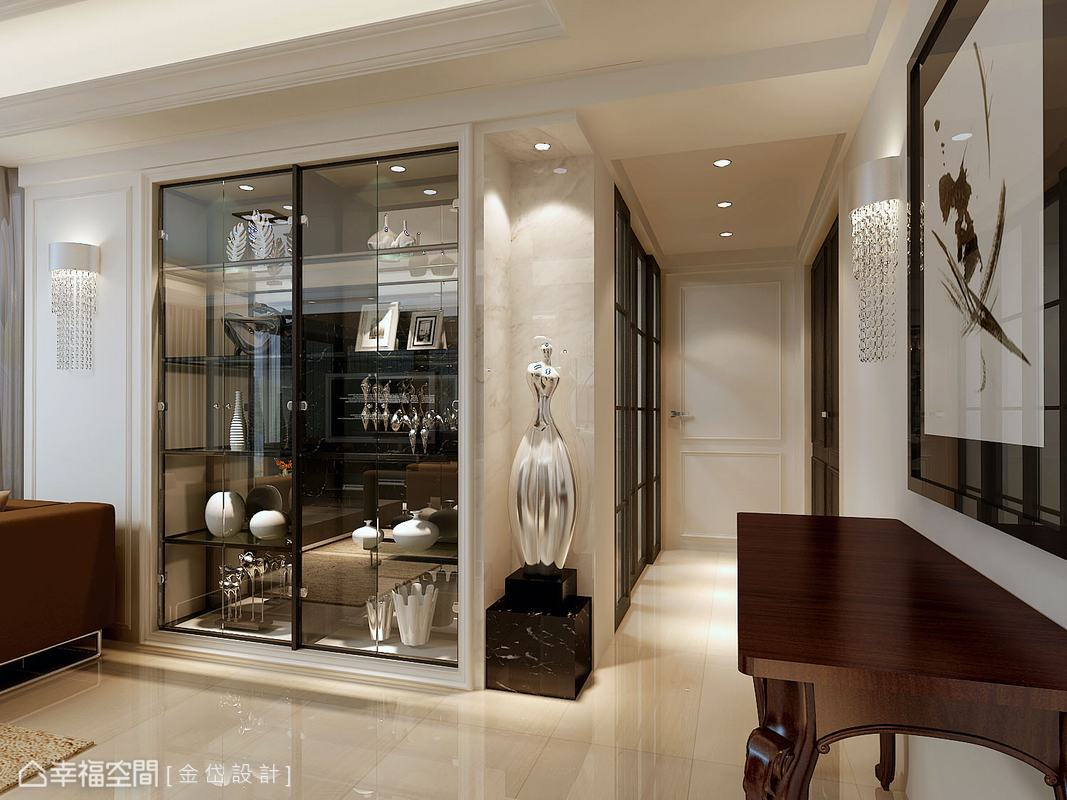 轉角預留放置藝術品的空間,塑造出入廊道的視覺焦點。(此為3D合成示意圖)