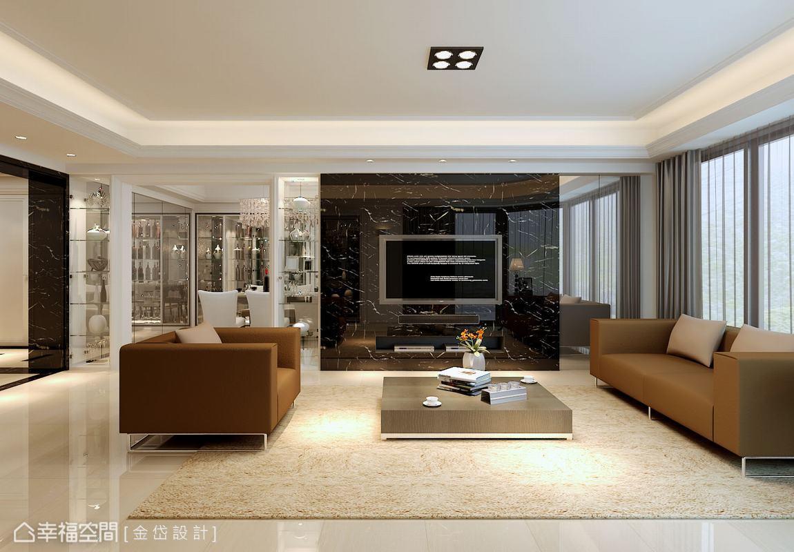 黑白根大理石在白淨空間內彰顯氣勢,影音主機全數收納於內嵌的空間,營造簡潔俐落的居家美學。(此為3D合成示意圖)