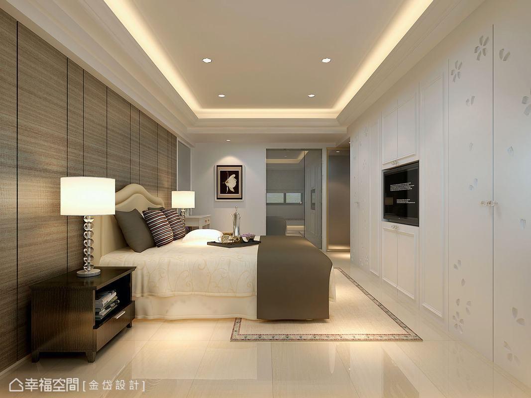 白色古典造型門以延續性的思考,將機能量體的存在感降低,還原睡眠空間的舒適氣氛。(此為3D合成示意圖)