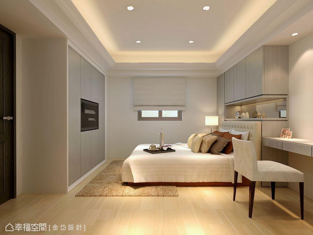 床頭與床尾都妥善使用作為櫥櫃,加入簡易的閱讀桌,使機能更加理想。(此為3D合成示意圖)