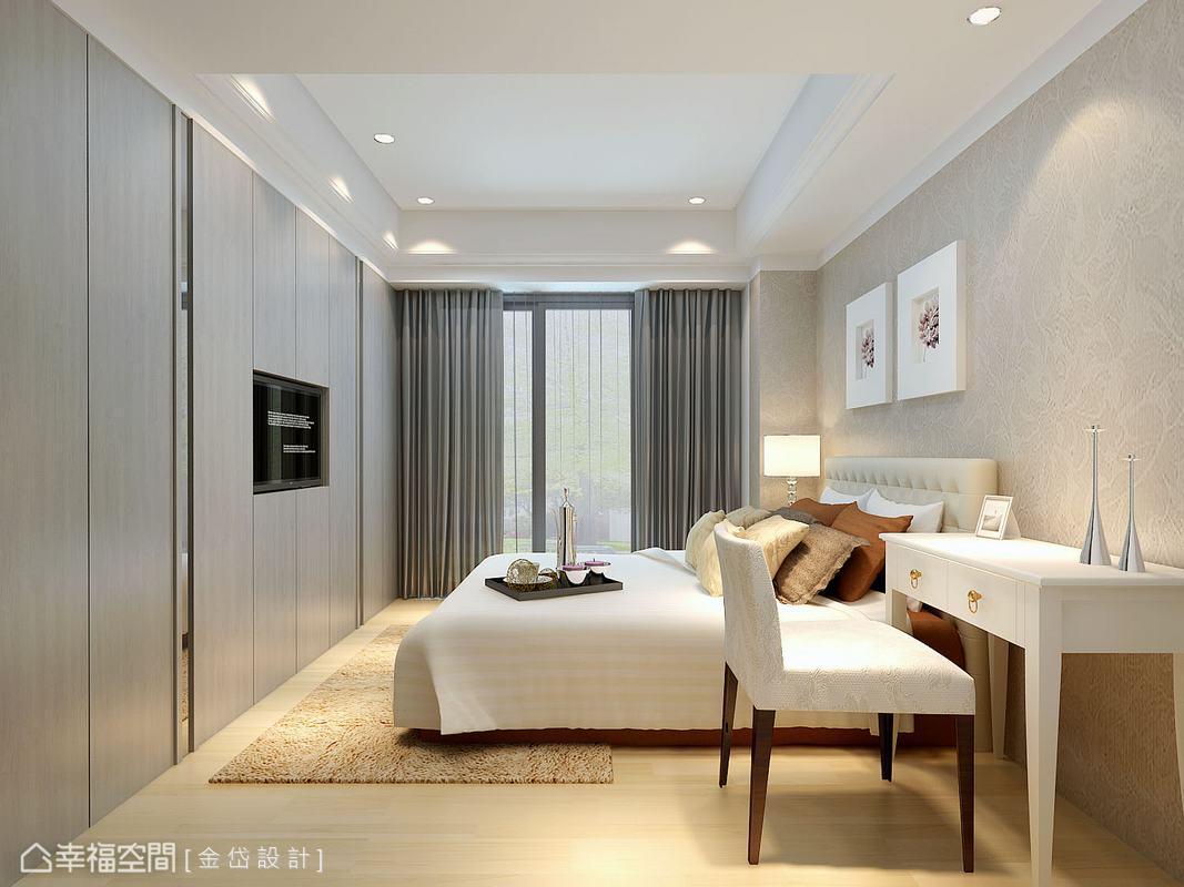 床頭以素雅的進口壁紙美化,機能則是一起整合在床尾方向,使小房間也能發揮效益。(此為3D合成示意圖)