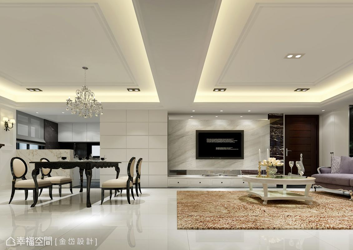 默認梁體的空間裁切,白色基底的石料與立面設計滿足新古典的配色與裝飾線條;電視牆右側的方格立面,藏起儲藏室與廚房側的電器櫃。