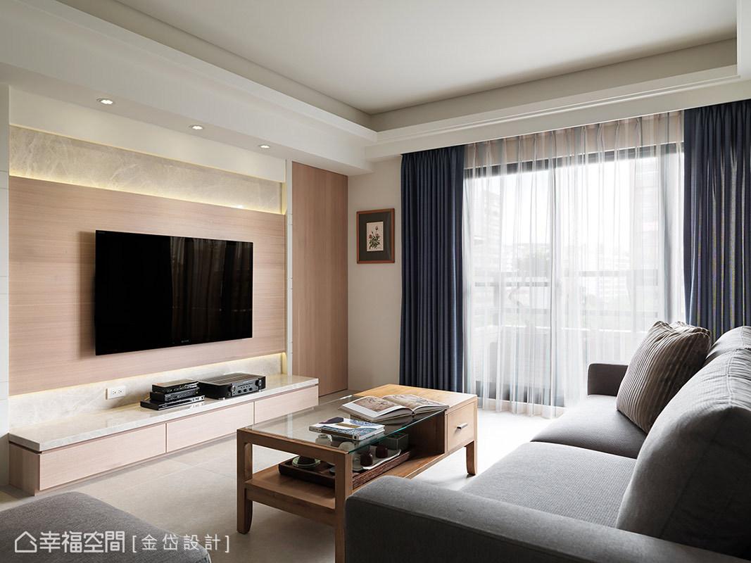 底部以大理石鋪陳,上方搭配輕柔色系的木紋材質,展現乾淨、俐落的視覺層次。