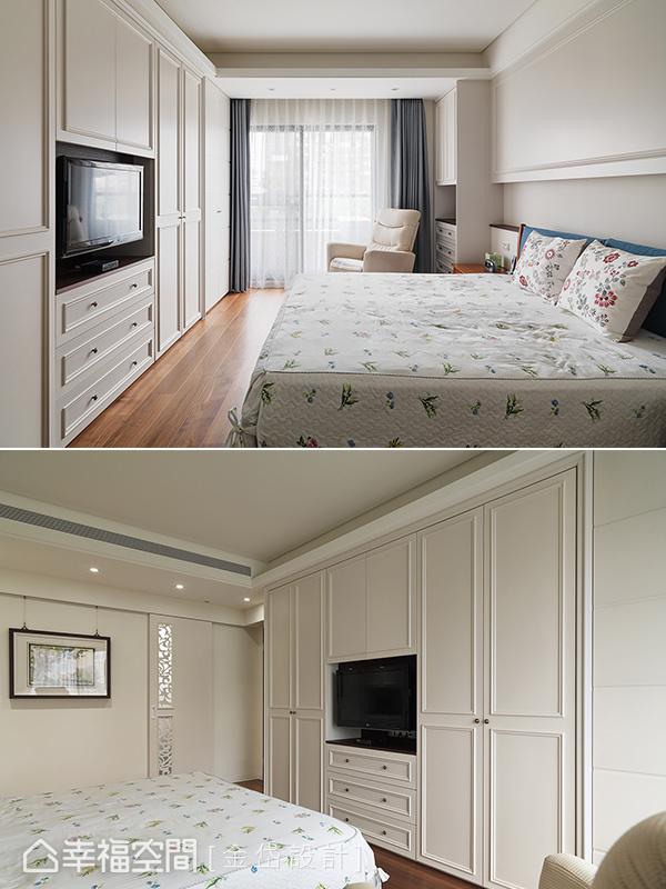 以白色調成為空間基底,且讓電視與衣櫃整併一起,美學與機能相容並置。