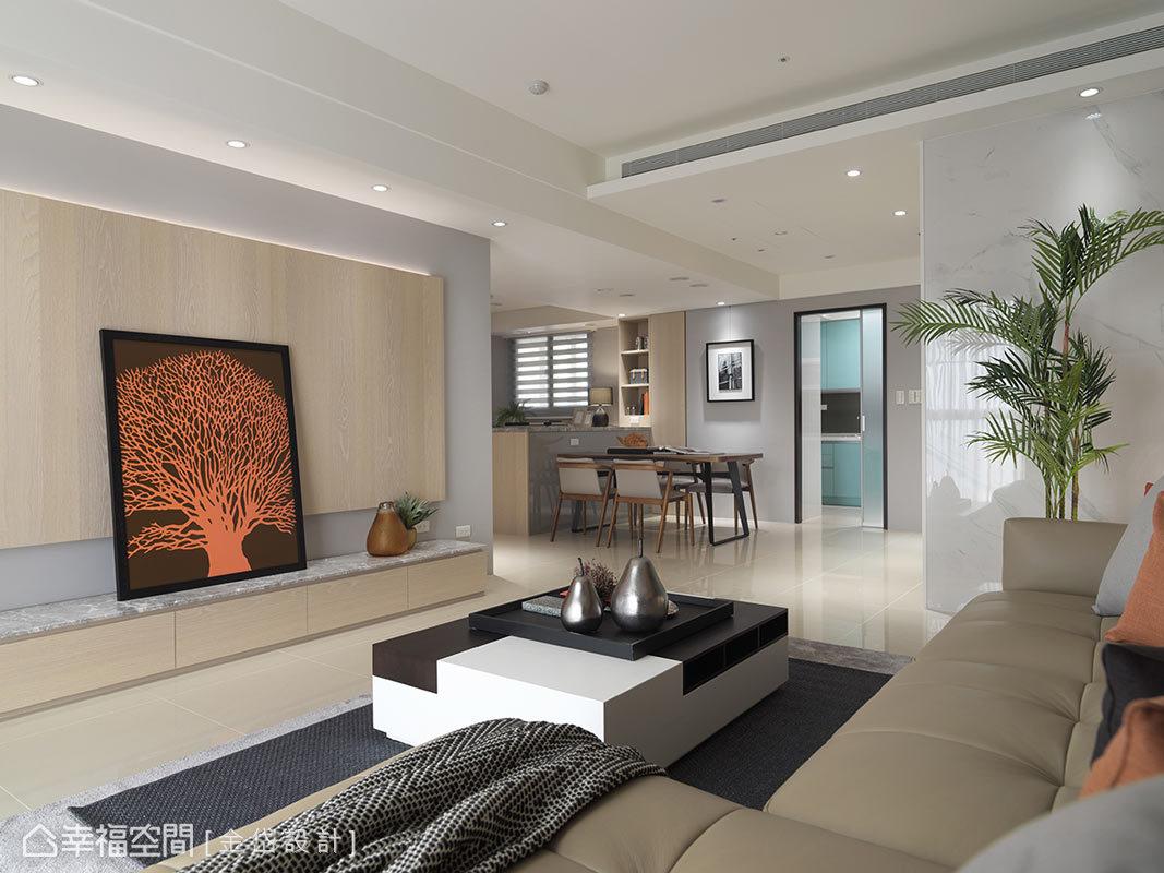 本案為標準的三房兩廳,金岱設計在不動原始格局下,用灰色及大地色營造的空間的氣氛與彩度。