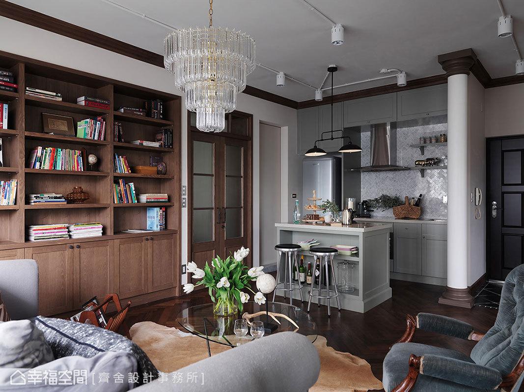 少有開伙需求,以小而別緻的廚具和吧檯,描畫出輕鬆的互動場所。