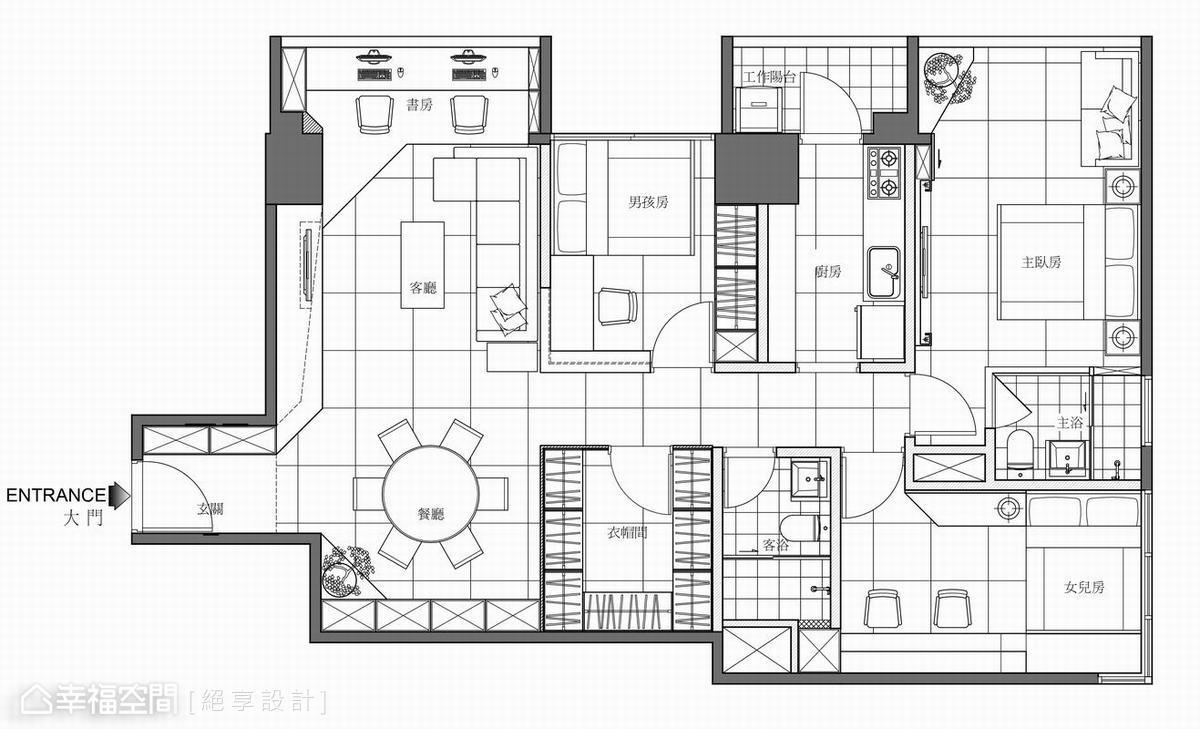 26坪大三房 現代華麗風格