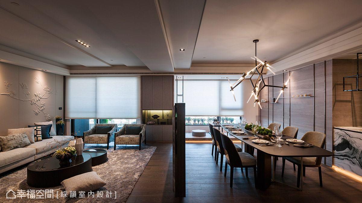 現代風為題的空間中,天花板也適度施以俐落的線條變化,讓整體設計更具層次感。
