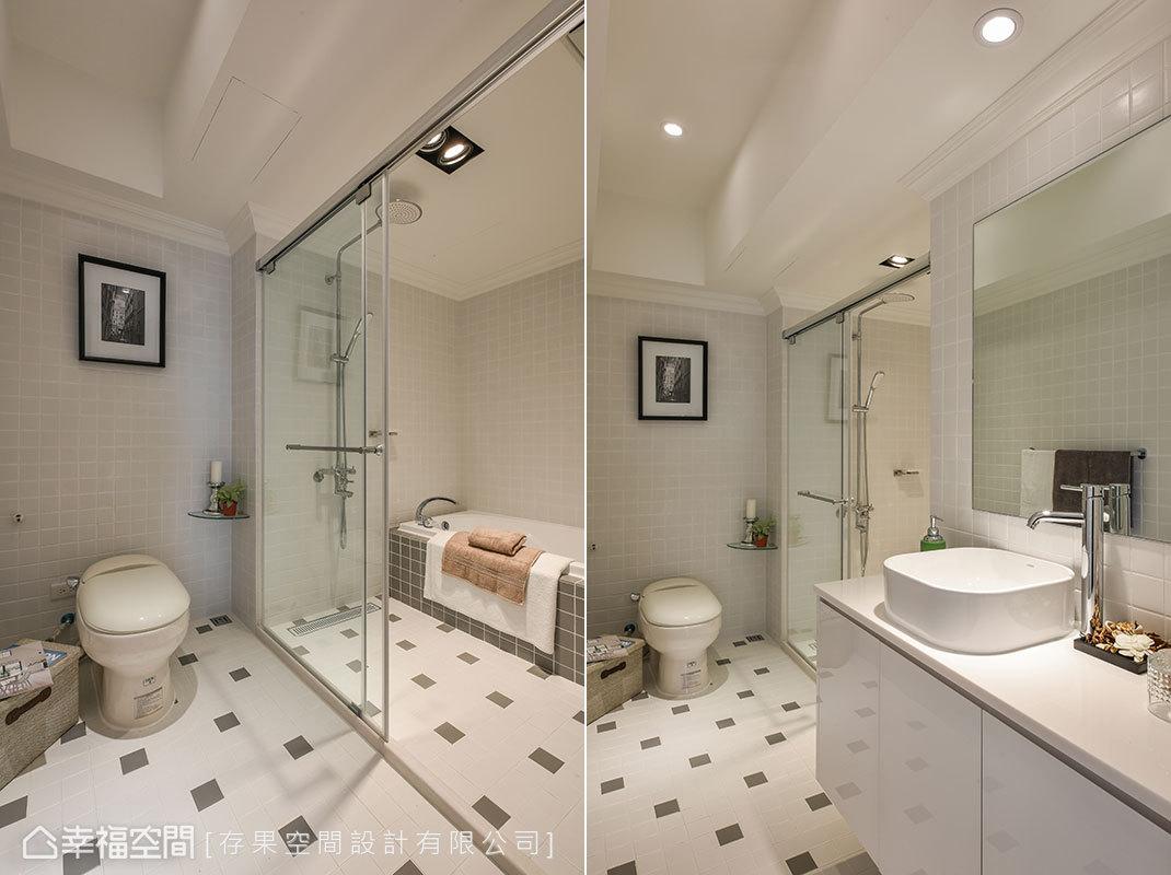 以米白色為主調,創造放大明亮的效果,結合馬賽克磚的拼貼方式,展現豐富且不單調的層次設計。