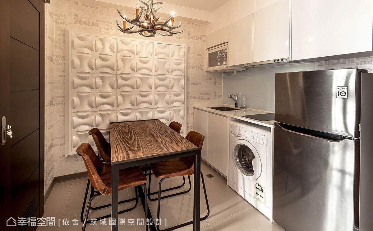 別於古典的精緻線條,以木質搭接鐵件的餐桌椅設計與造型燈具,帶出個性十足的英倫調性。