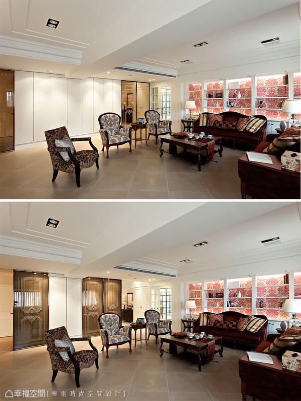 設計師在客廳旁設計大型收納櫃體,當將茶玻拉門拉開當成玄關屏風時,立時分出內外不同空間,穿透性的質感保持玄關的通透明亮。當拉門闔上時,噴紗線板的簡單線條成為室內的美麗端景牆。