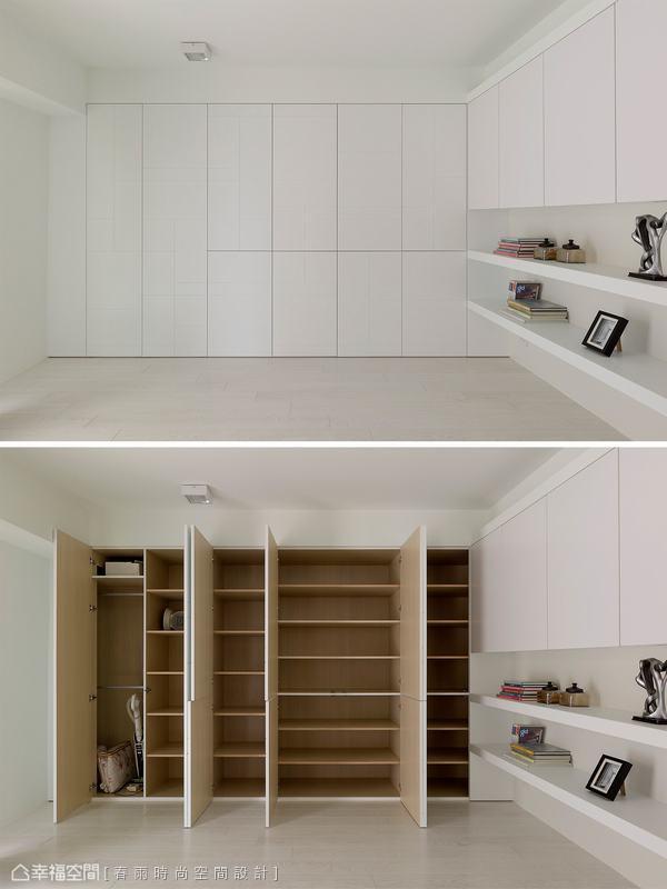 虛實錯落的線條後方,藏有一個儲藏室的收納機能。