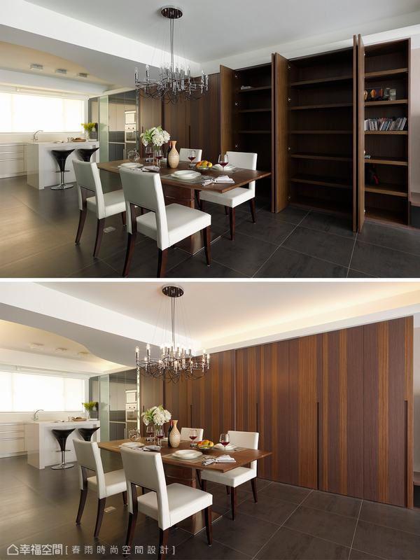 除了基本的收納機能外,設計師亦將預留的神明桌及通往後陽台的門片隱藏在統一設計的櫃門後方,一體成形的櫃體設計僅見深淺色階木皮營造出來的層次視野。