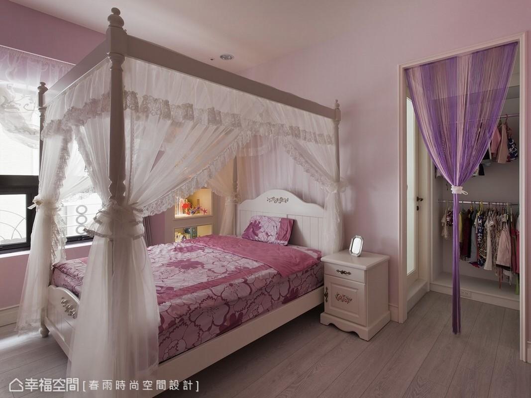 粉紅柔美的女孩房還有專屬更衣室計畫。