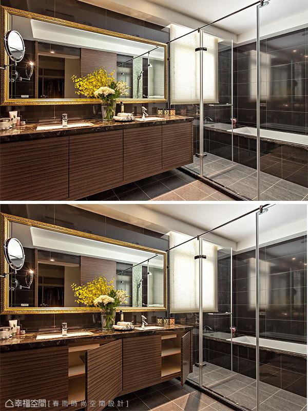 大理石檯面與藝術畫框鏡面提升衛浴質感,下方浴櫃更有實質的收納機能。