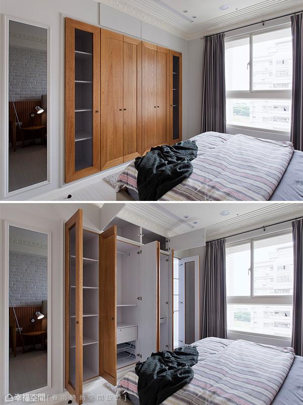 低甲醛系統櫃配置木作造型門面讓風格統一,兩側鐵網門片的設計具備透氣與美觀的實用機能。