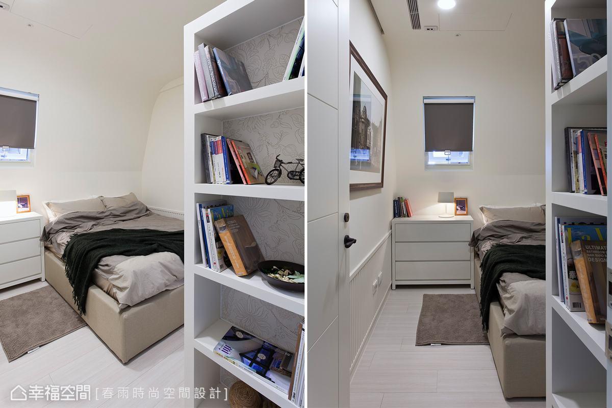 坪數偏小的孩房有了斜牆面的設計,放大尺度外還有閣樓小屋的童話氛圍。