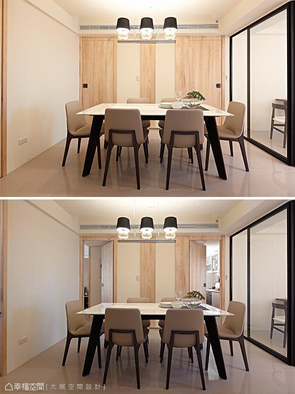 於走道中心的餐廳區塊,蘊含著四個空間出入口,客房開門的改向增加出入流暢度。
