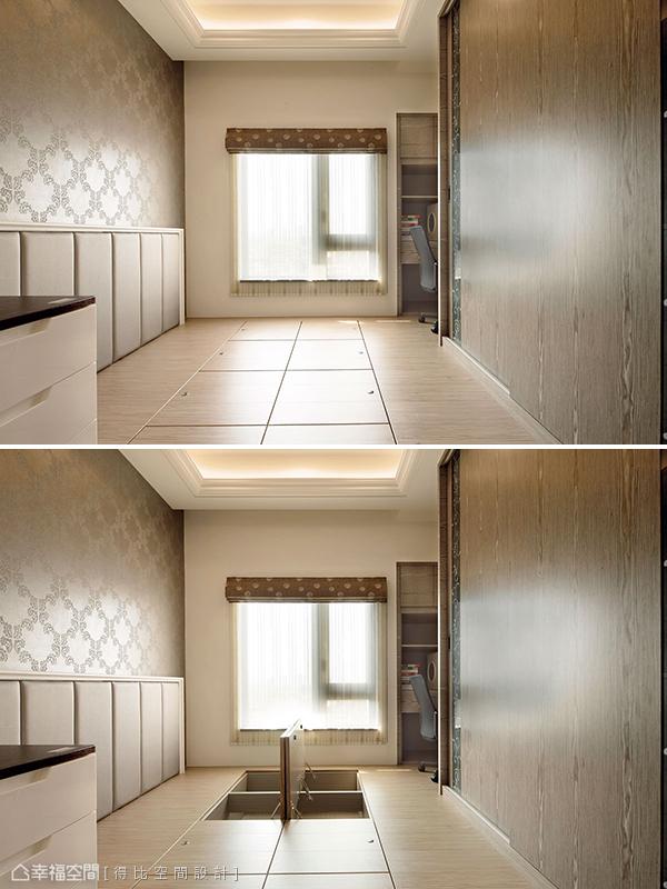 架高木地板的男孩房具有客房、遊戲房與收納儲物等多元機能。