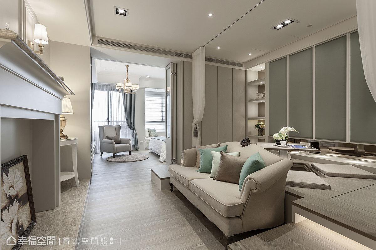 刻意將主燈設置於主臥,避免客廳產生壓迫感;在自然光的照拂下,創造出空間深度。