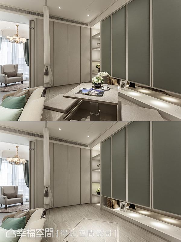 升起升降桌,創造出和室與餐廳機能;反之收整木地板內,並將柔和的紗簾拉起,空間即變身成客房。