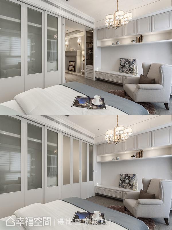 經噴砂處理的玻璃摺門,闔上後與衣櫥融為一體,隱約的遮蔽效果,也圍塑出靜謐的閱讀氛圍及獨立的睡眠區域。