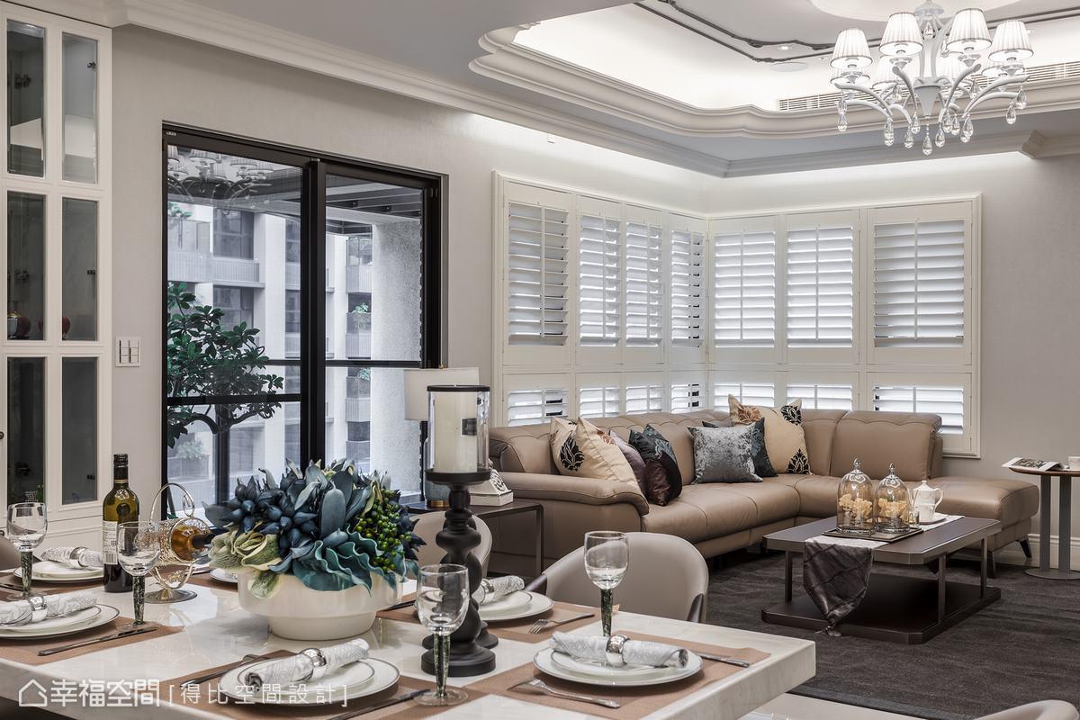 空間以黑、灰、白三色圍塑簡約基底,再透過造型線板、燈光照映與居家陳設層層堆疊新古典質感,使空間時尚而俐落,氣質更不失大器氛圍。