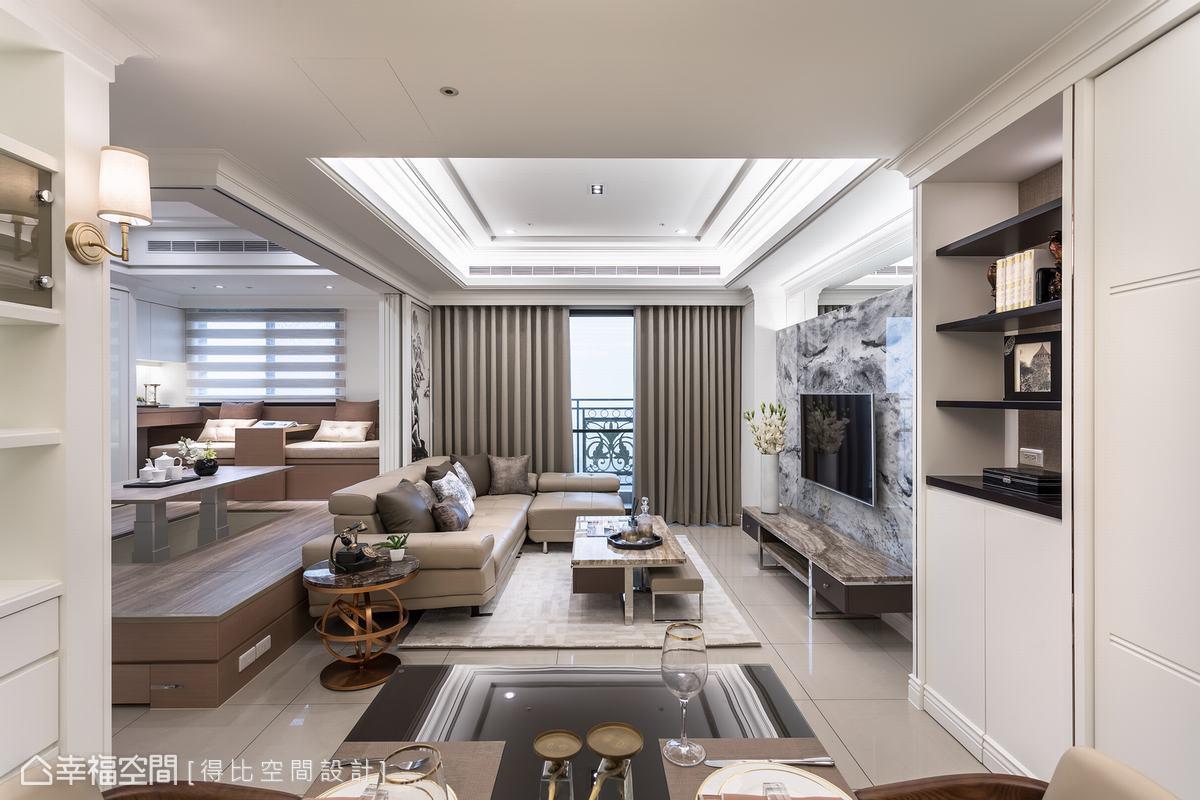 設計師侯榮元以「時尚新古典」氣韻堆疊場域基底,客製化設計讓空間更符合實用需求,亦使本案更具生活情感溫度。