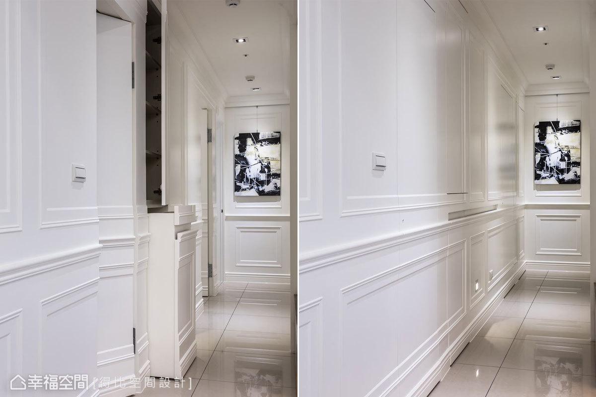 利用隱藏門片替廁所、臥房及收納櫃完美藏身,更貼心於立面暗藏扶手凹槽,方便日後輪椅進出,提升居家安全性。